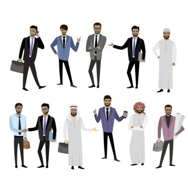 Big set cartoon Arab men, in different clothes and character