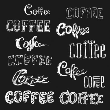 Coffee lettering in different styles on black background,