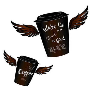 Coffee to go with wings, Wake up -  lettering