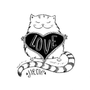 Cute cat with love heart