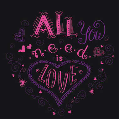 All you need is love, hand written lettering apparel t-shirt des