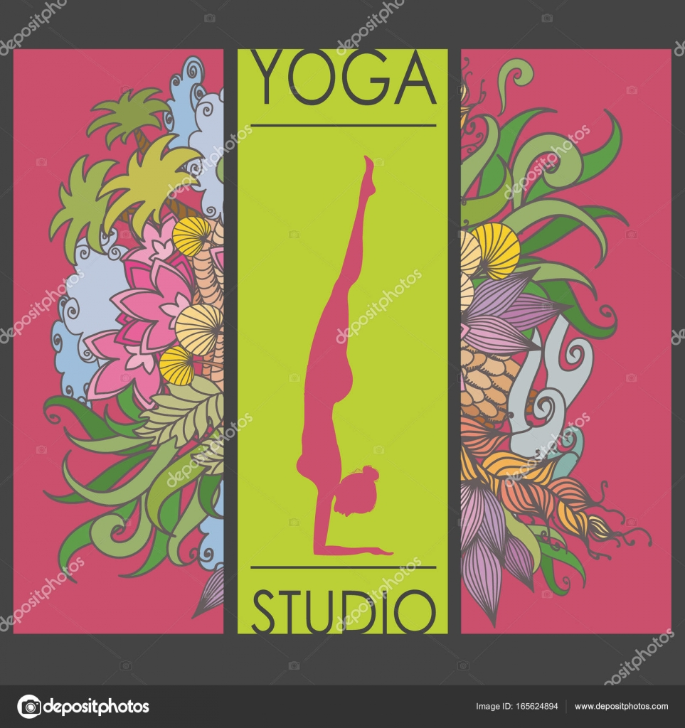 Karten für Frau Yoga-Studio mit floralen ornament — Stockvektor ...