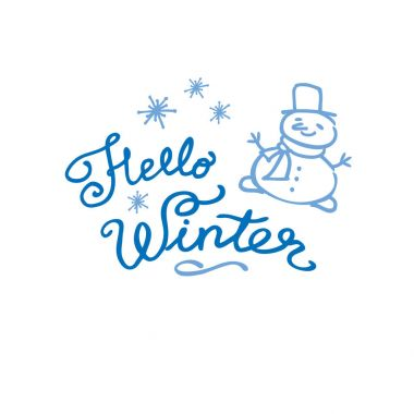 Hello winter text. Vector Brush lettering.