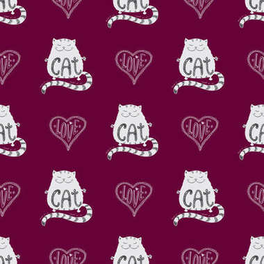 Seamless pattern Cute cat with love heart