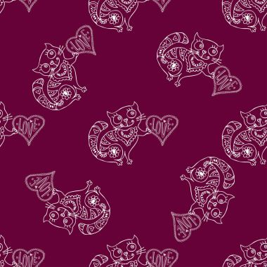 Seamless pattern Cute cat with love heart.