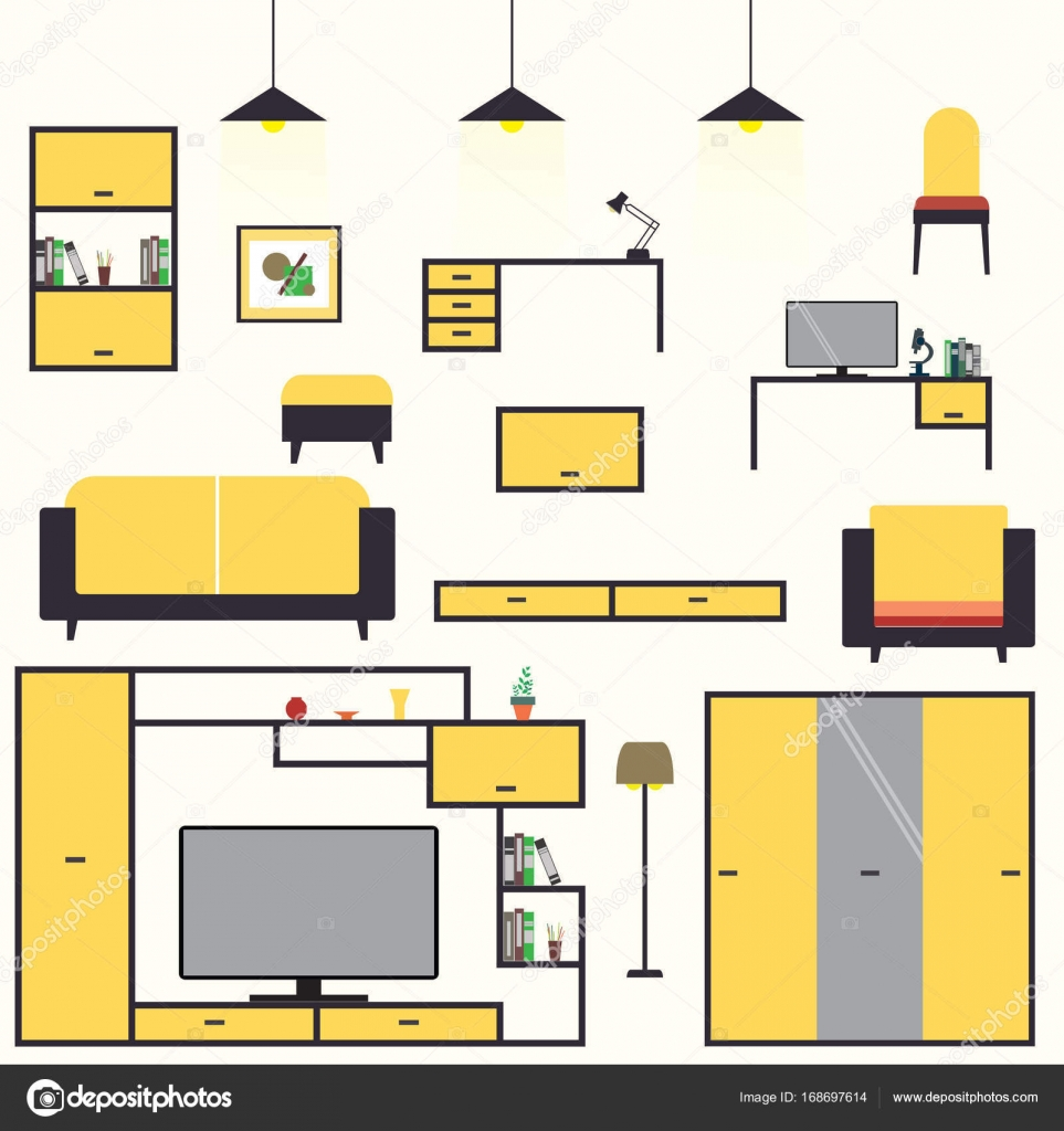 Dibujos Animados Set Muebles Dise O De Interiores De Sala De Estar  # Muebles Sala Set