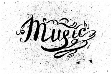 Music Hand drawn vector illustration. Lettering.