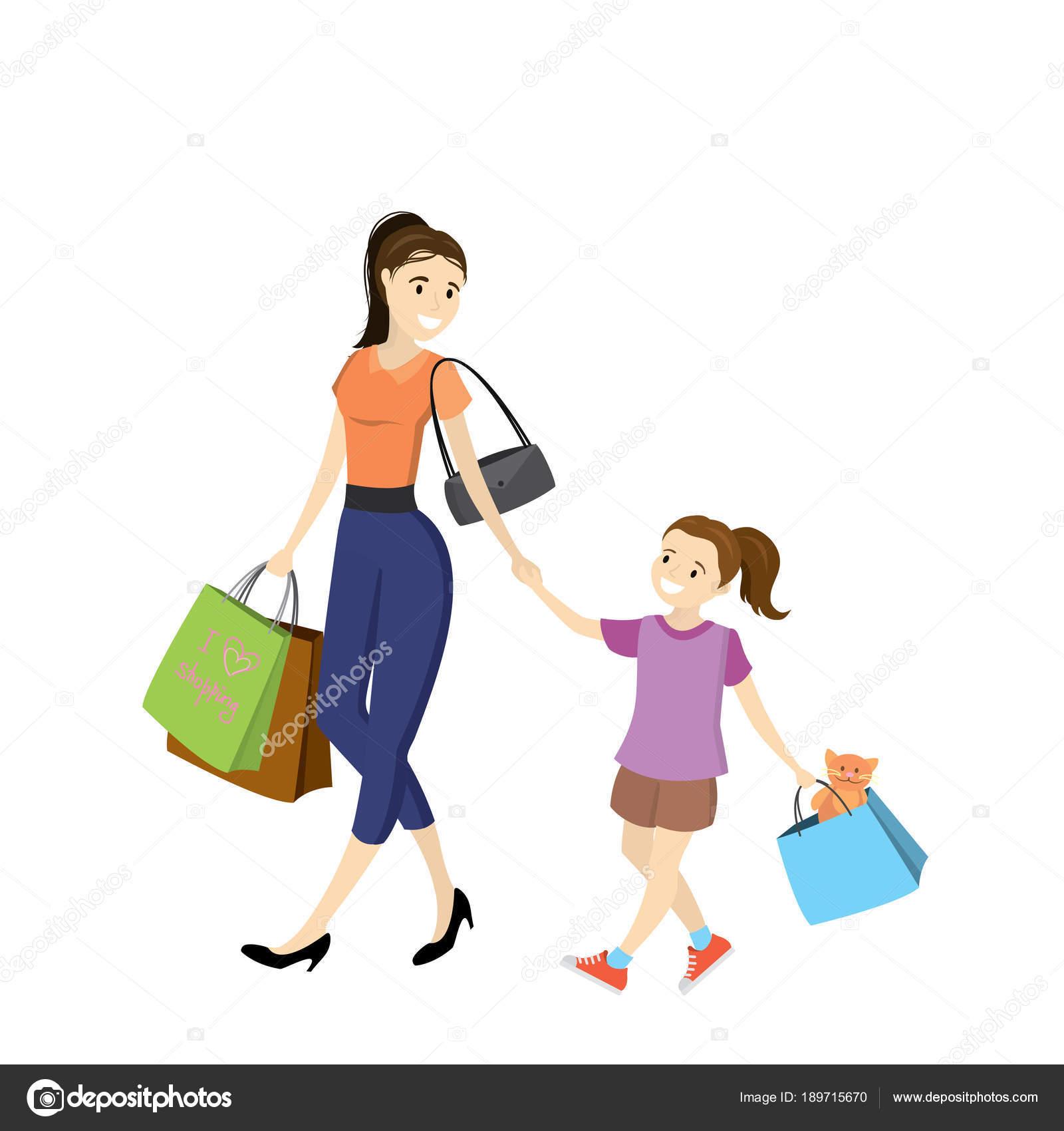 Maman Et Sa Fille Avec Des Sacs à Provisions Image