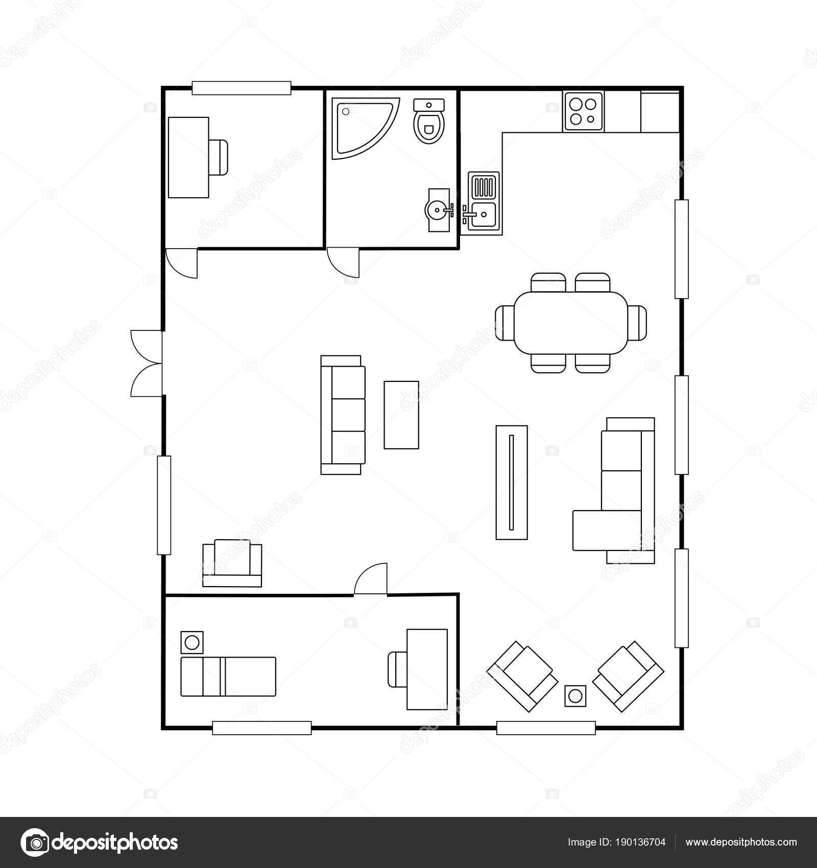 Architektur Plan Mit Mobeln Haus Grundriss Isoliert Auf Weissem Hintergrund Lager Vektor Illustration Von Naum100