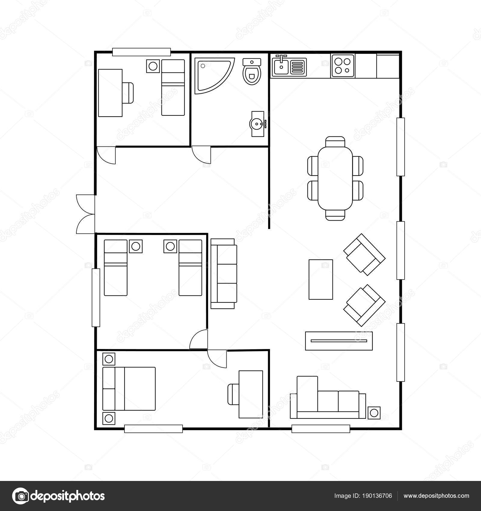 floor plan furniture vector. Architecture Plan With Furniture. House Floor Plan, Isolated On White Background,stock Vector Illustration \u2014 By Naum100 Furniture S