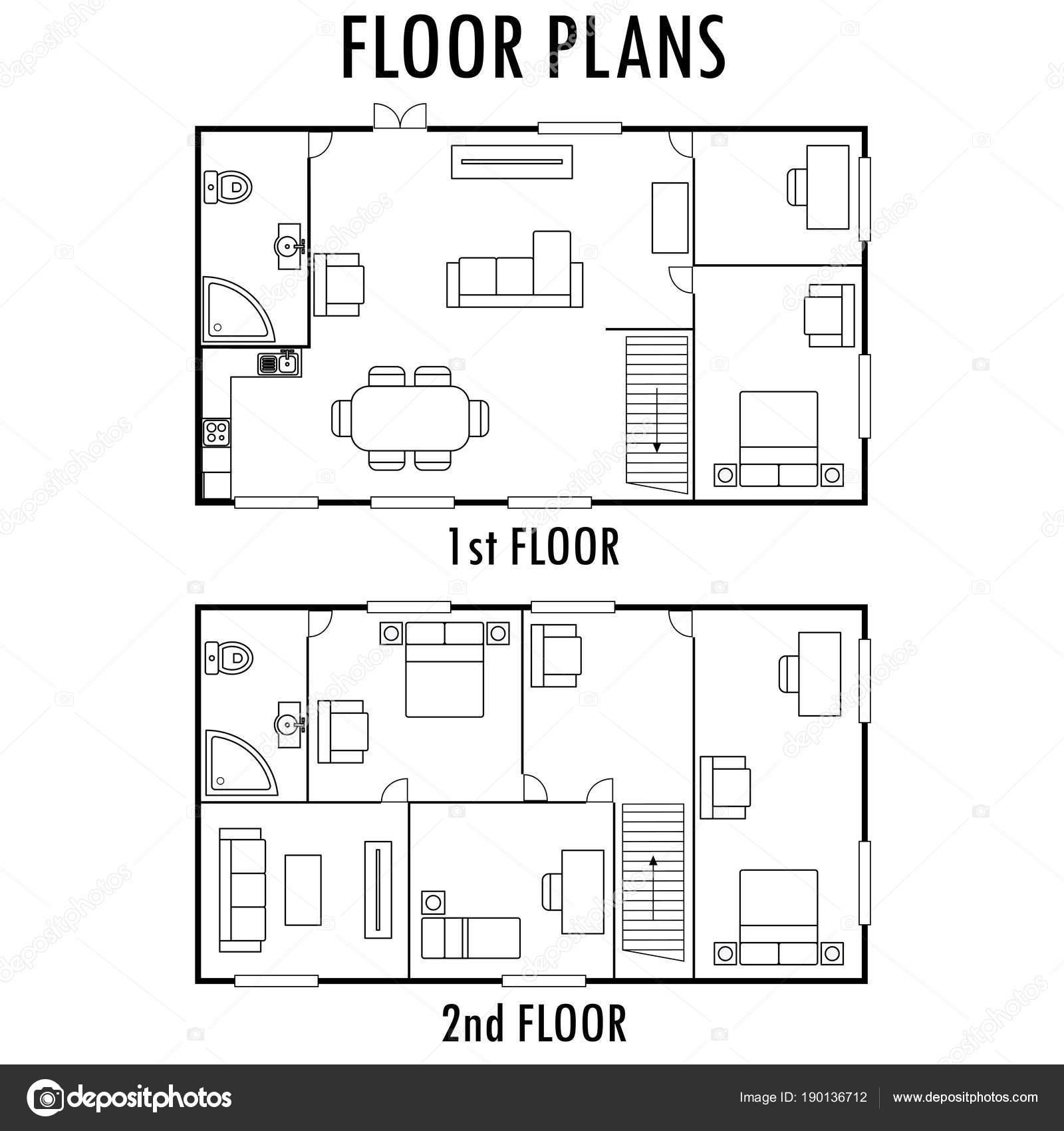 Architektur Plan Mit Mobeln Haus Erste Und Zweite Etage P