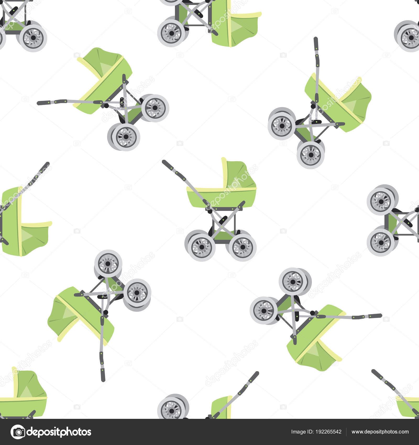 Cartoon Pram Or Baby Stroller Seamless Pattern Stock Vector