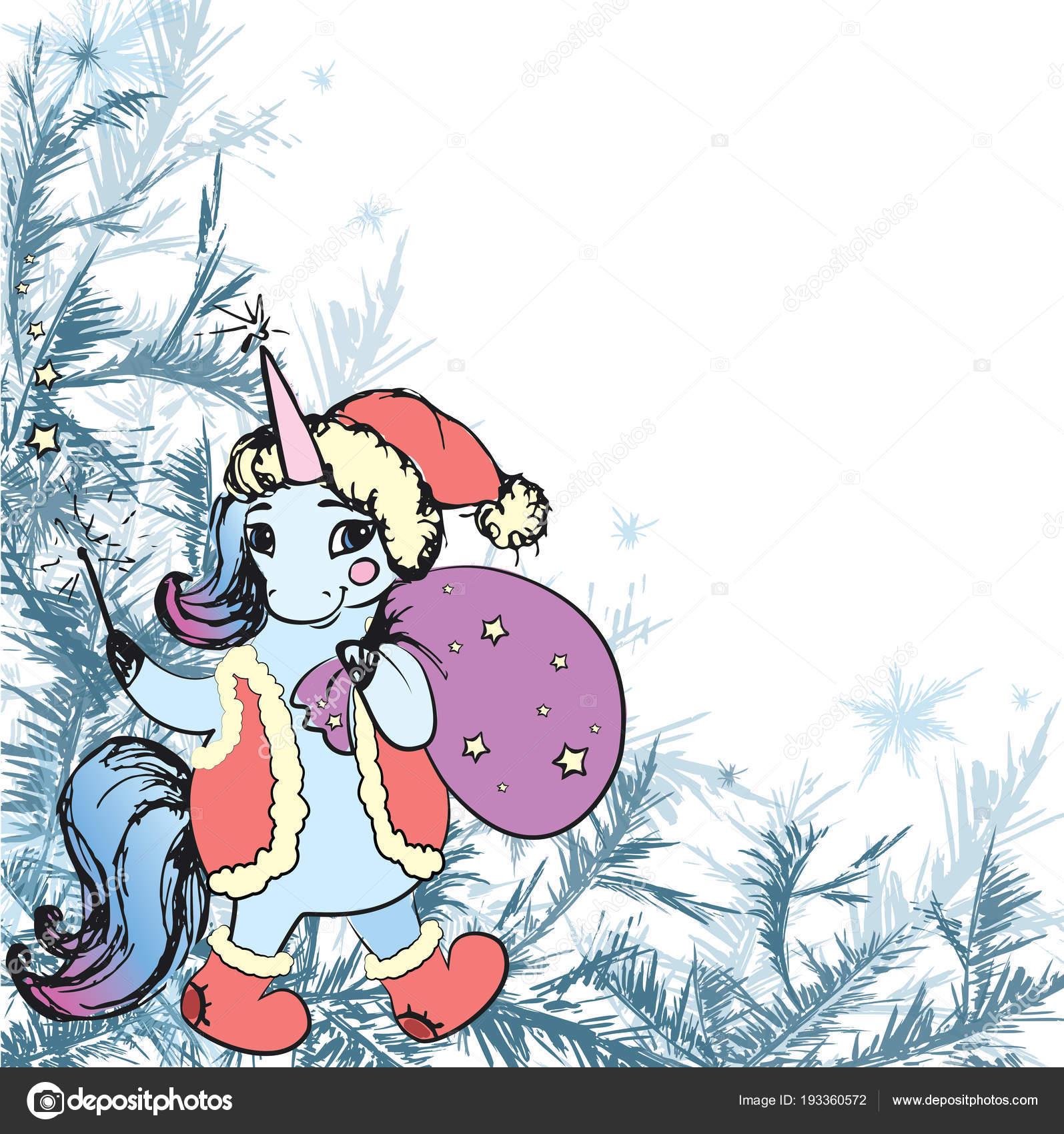 Marco invierno helada decoración y lindo unicornio de Navidad ...