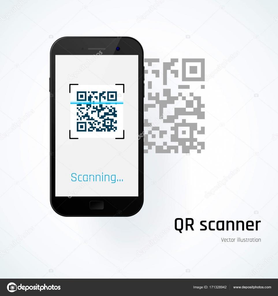 fa881138d10 Scanner de QR. Móvil escanea el código Qr. Ilustración de vector — Vector de