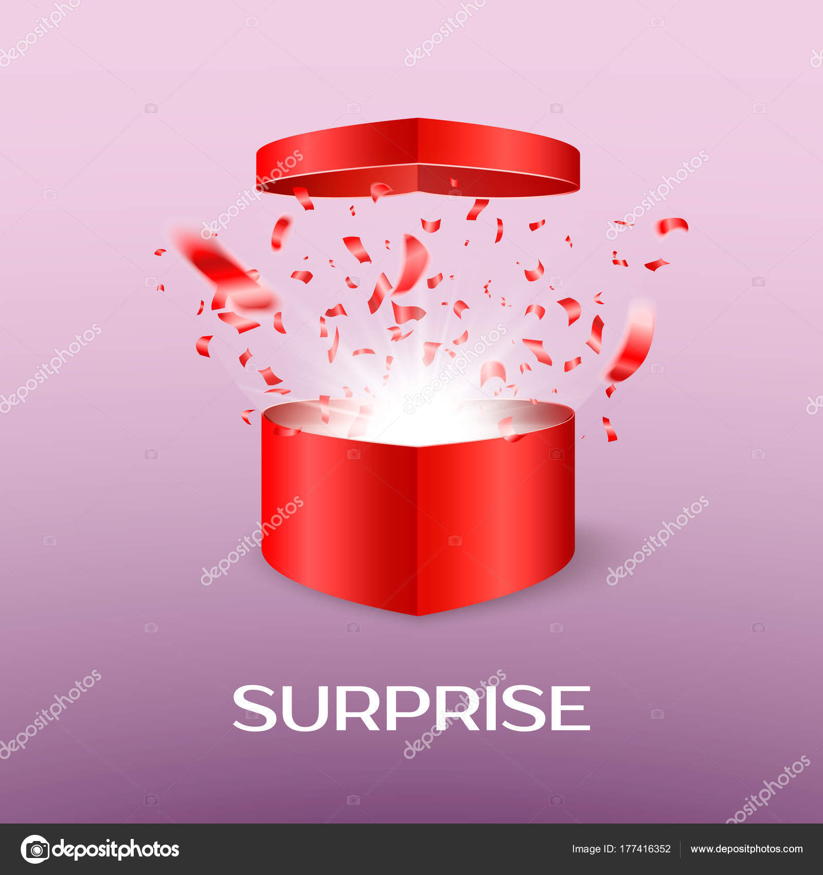 Open Surprise Box On Saint Valentine Day Gift Box In The
