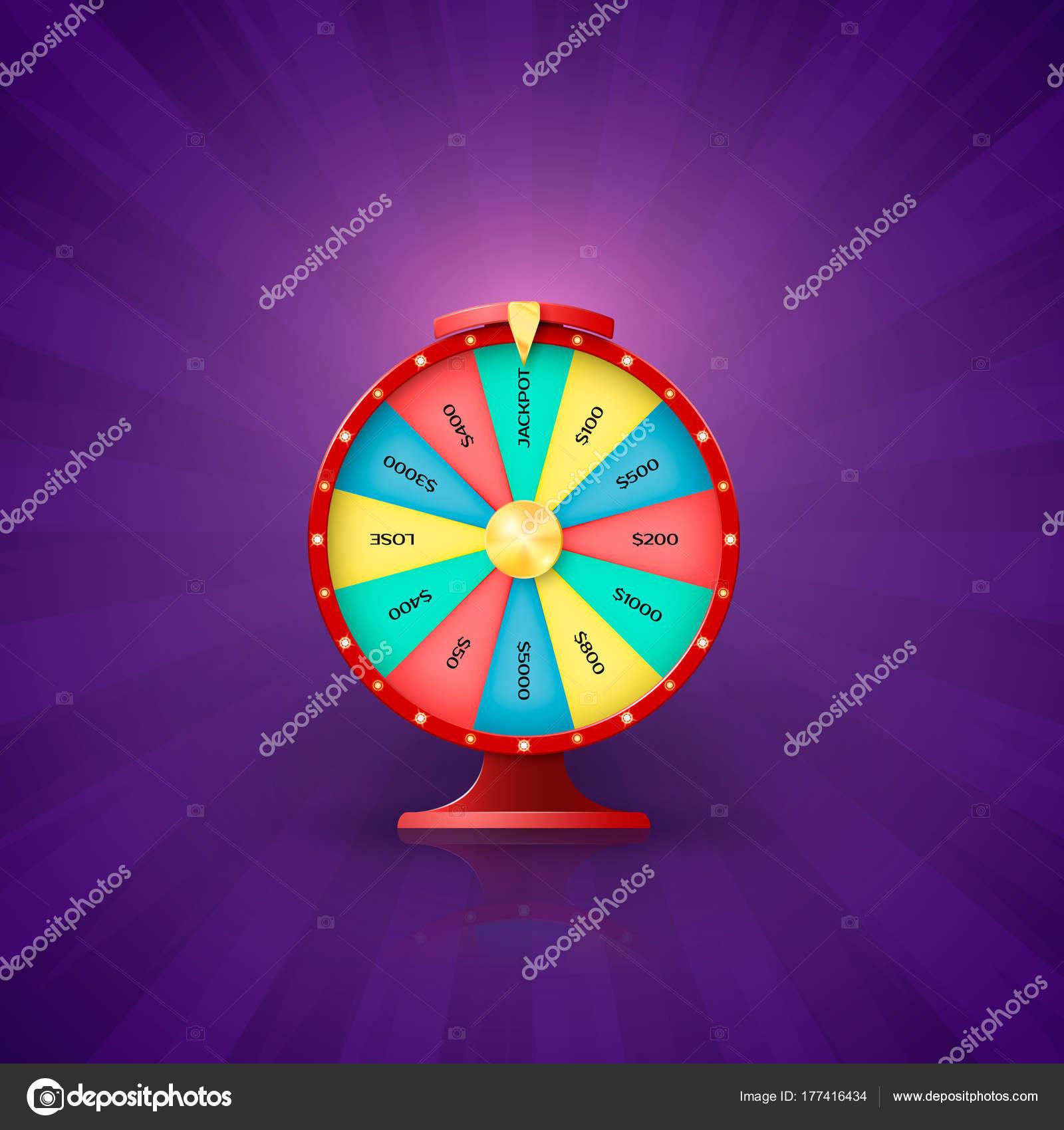 Flecha de la rueda de la fortuna punto a la ranura de bote. Rueda de ...