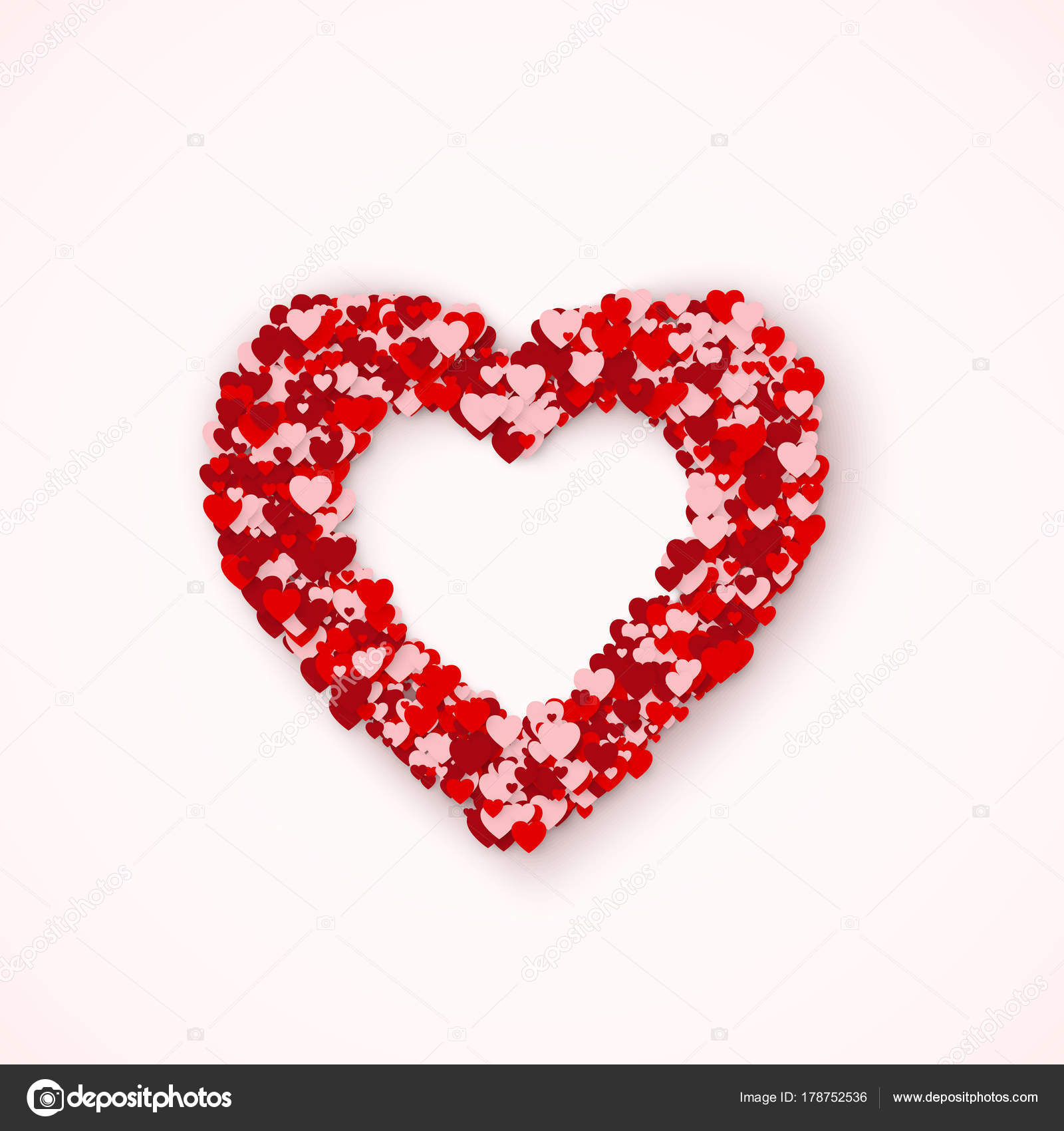 Lovely Heart frame from small red and pink hearts. Feeling of love ...