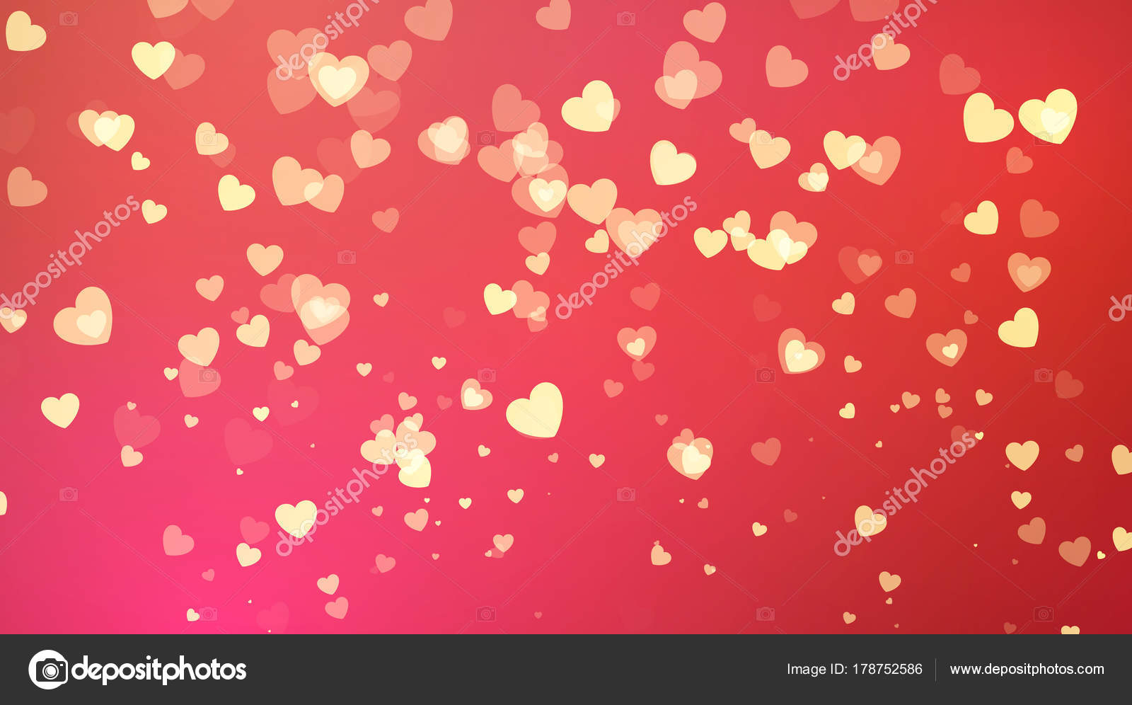 Red Background With Golden Heart Confetti Valentines Day Greeting