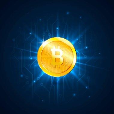 Altın bitcoin devre kartı üzerinde dijital para. Fütüristik teknoloji dijital para veya cryptocurrency kavramı. Vektör çizim