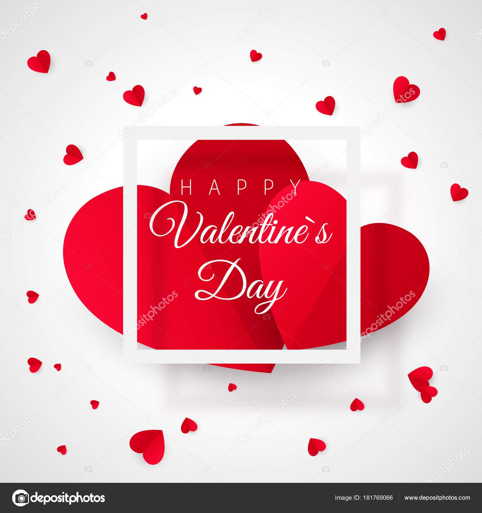 Plantilla de tarjeta de felicitación del día de San Valentín. Dos de ...