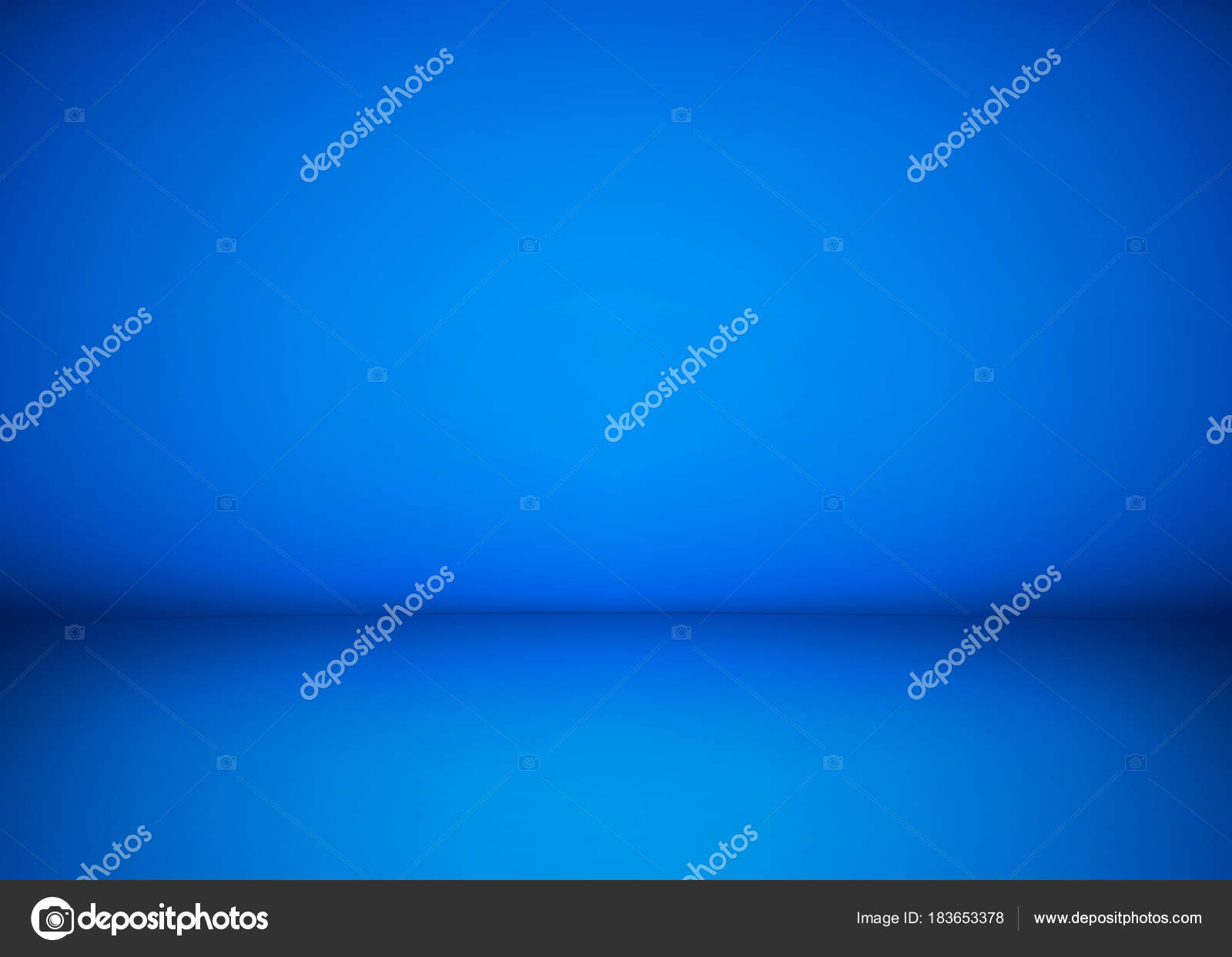 Abstract blue studio workshop background. Template of room interior ...