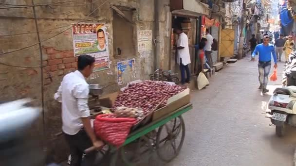 View of a narrow alley in the center of Delhi, India