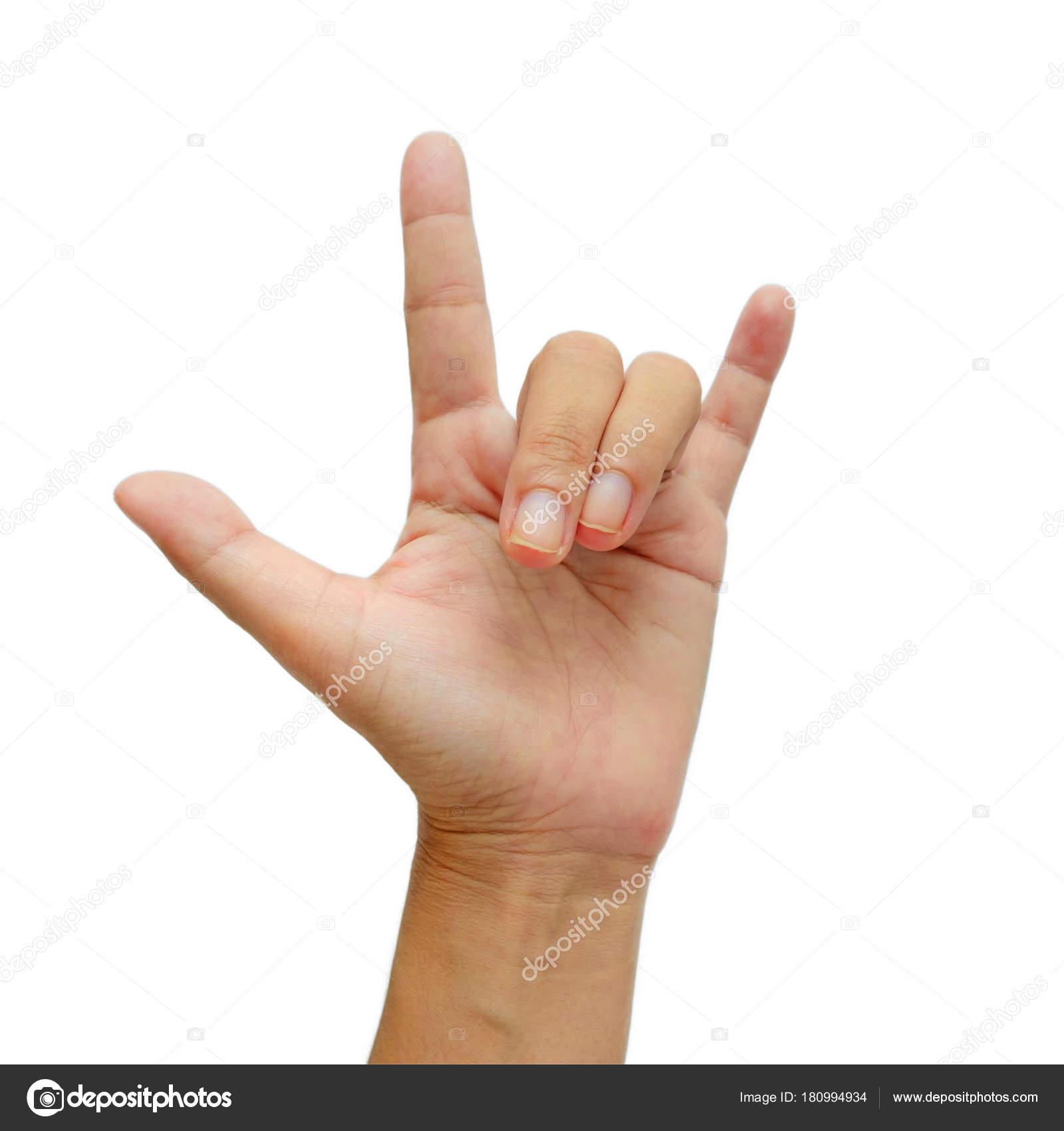 Handzeichen, was bedeutet ich liebe dich auf weißem