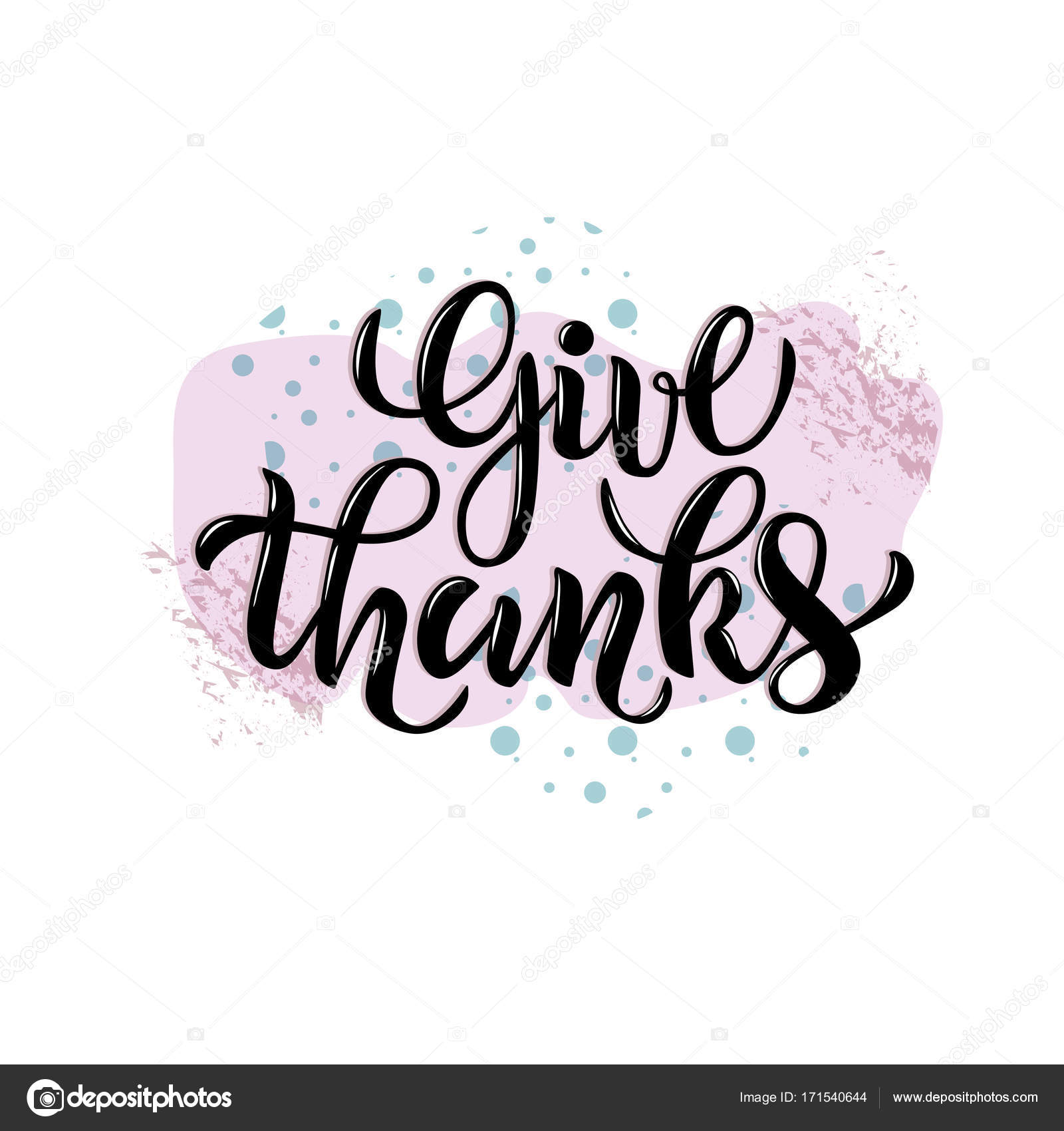 Vector Illustration Of Give Thanks Text For Party Invitation