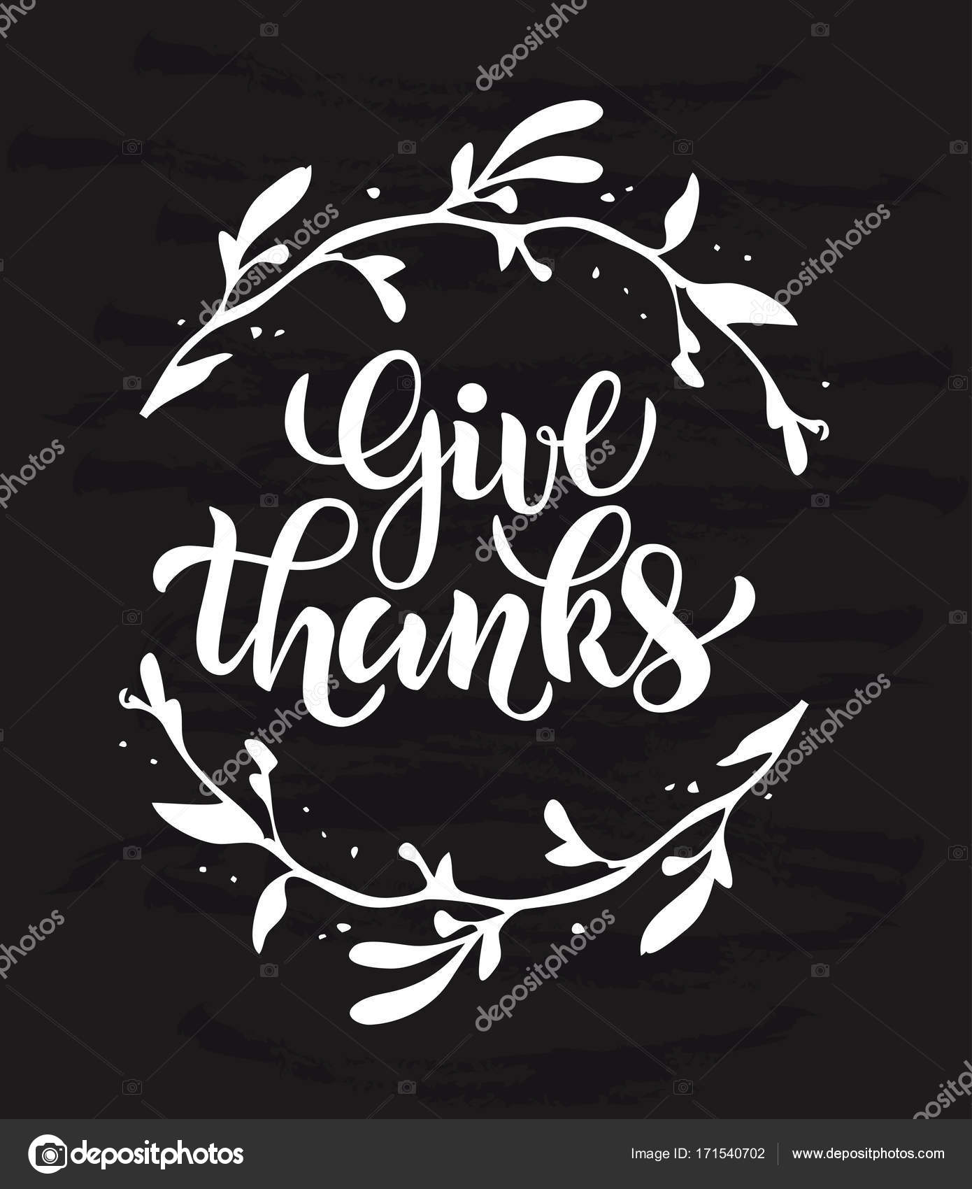 Vector illustration of Give thanks text for party invitation ...