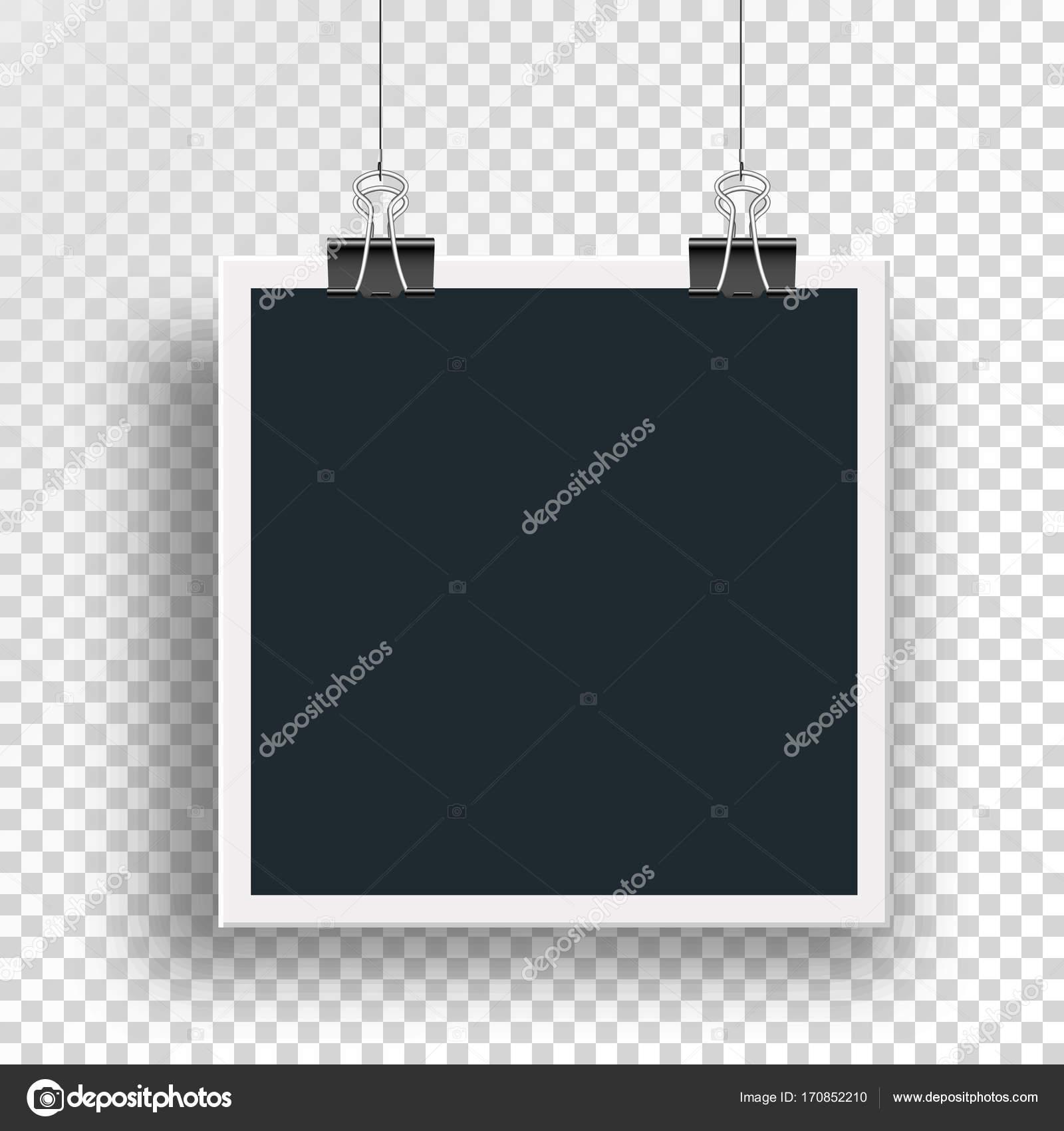 Marco de foto de vector con abrazadera clips binders y pesa en un ...