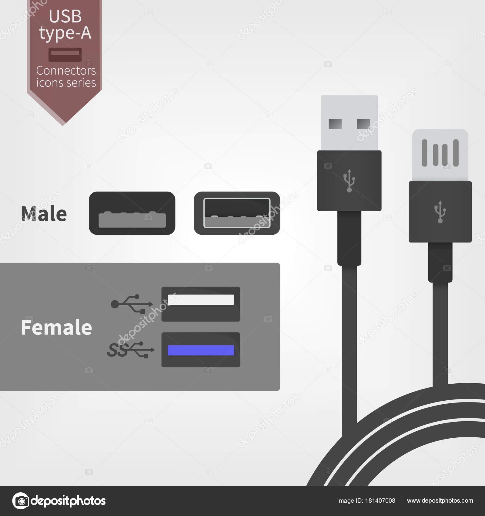 usb-steckdose steckdose und stecker kabel. vektor-illustration im