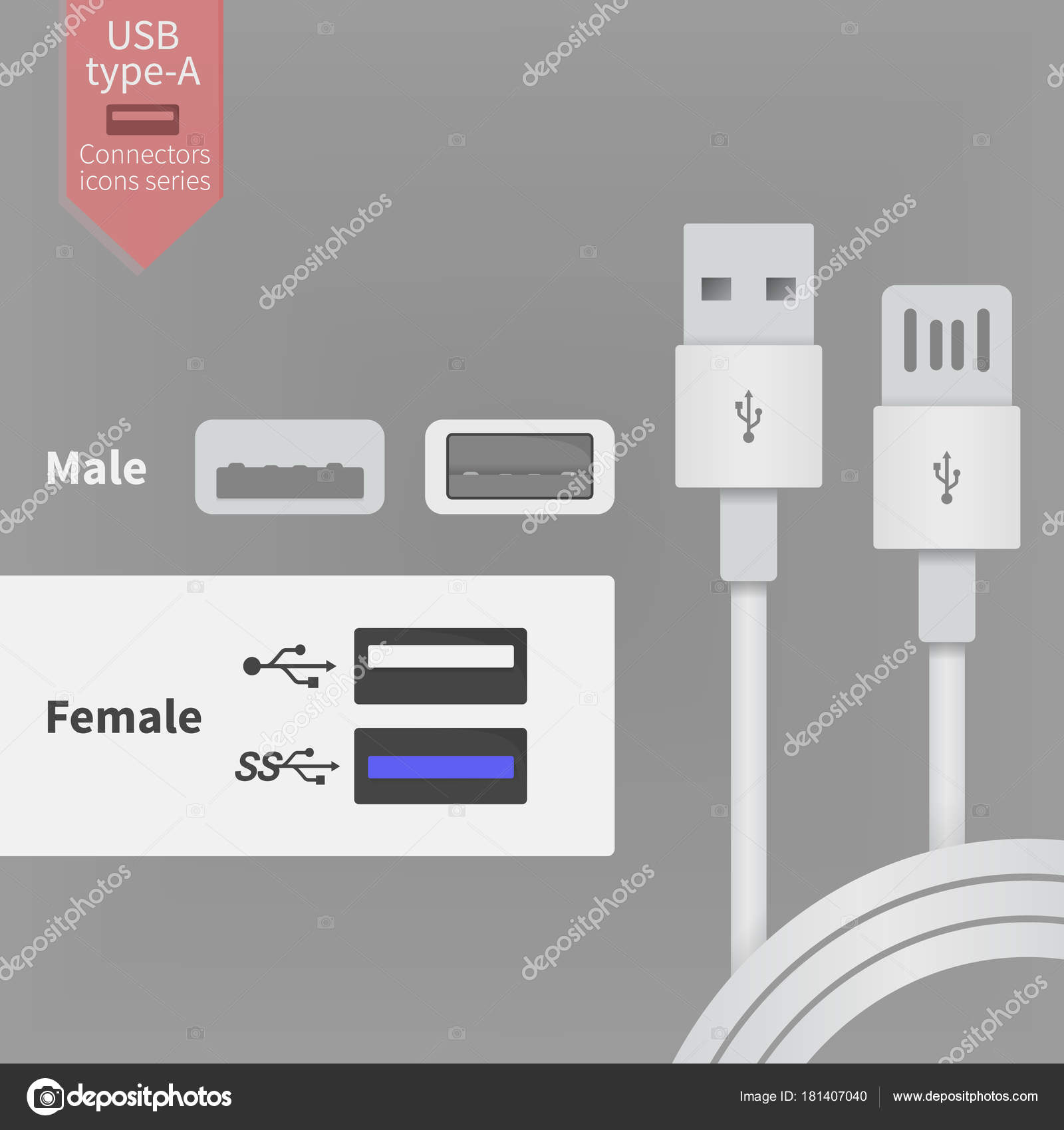 usb socket outlet and white connectors wires vector illustration in rh depositphotos com micro usb socket wiring diagram Basic Outlet Wiring Diagrams