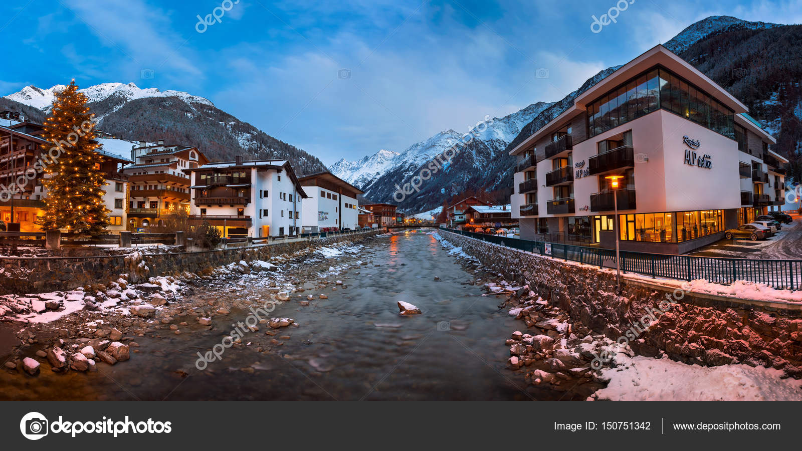 solden ski resort skyline in the morning, tirol, austria – stock