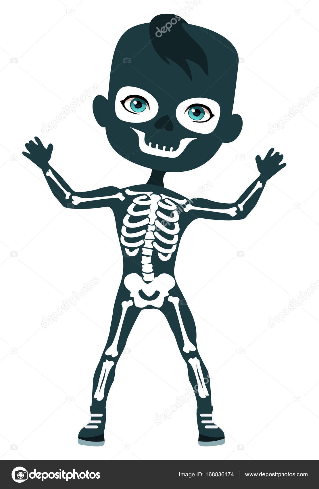 Skeleton costume. Cute boy in costume u2014 Stock Vector  sc 1 st  Depositphotos & Skeleton costume. Cute boy in costume u2014 Stock Vector © lenaminko ...