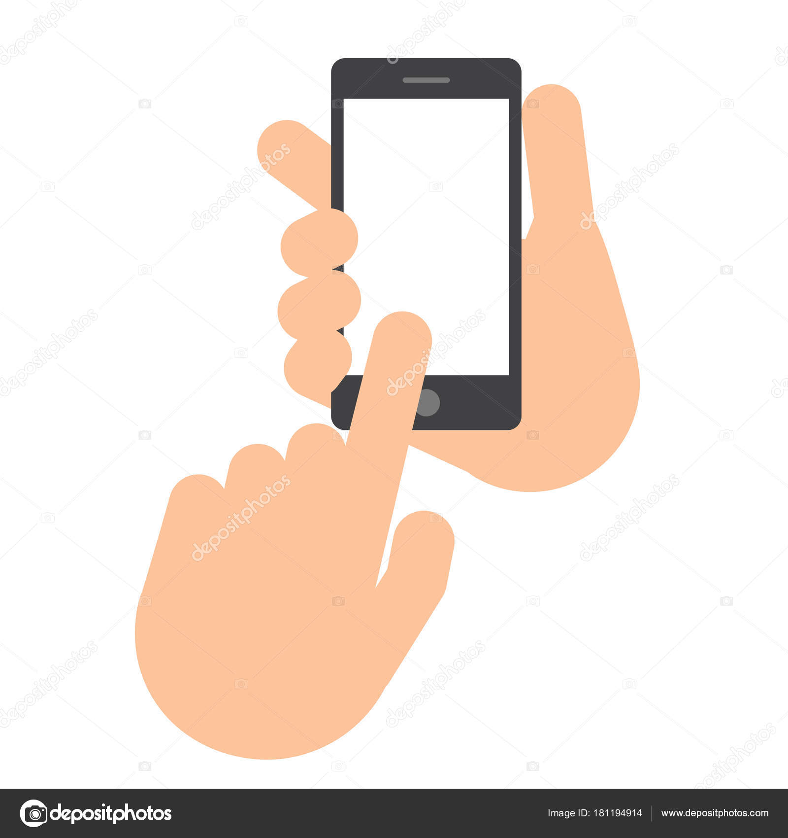 Two hands  The hand holds the smartphone  — Stock Vector