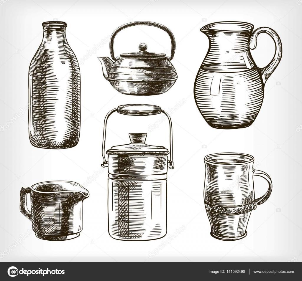 utensilios de cocina vintage. conjunto de dibujos vectoriales ...