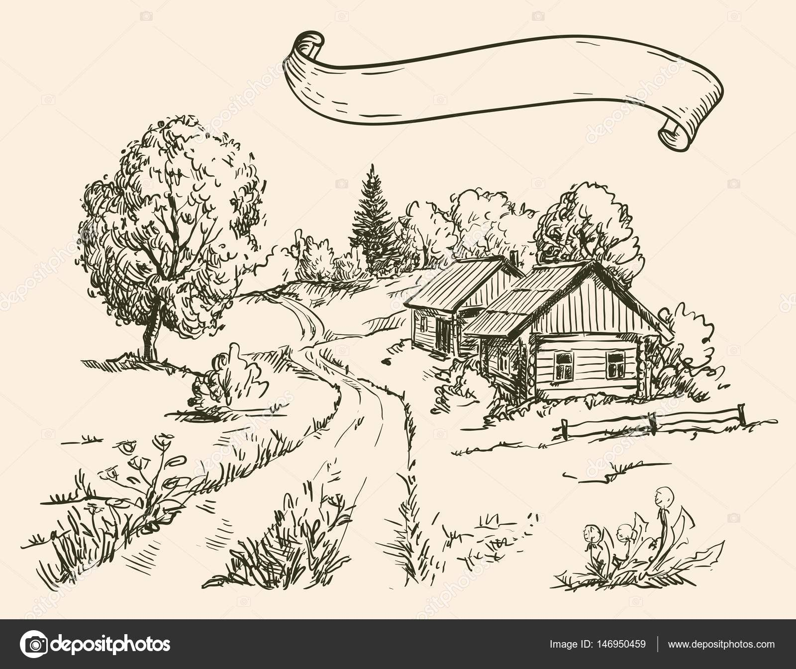 village houses and farmland — Stock Vector © lapuma #146950459 for Farmland Sketch  56mzq