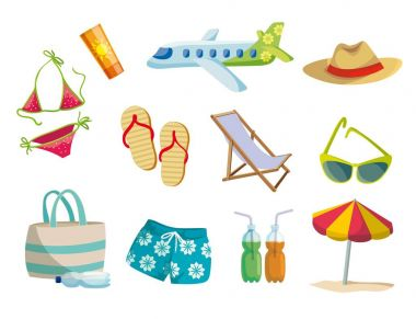 Summer, vacation on the beach, travel. Set of colored vector icons on white