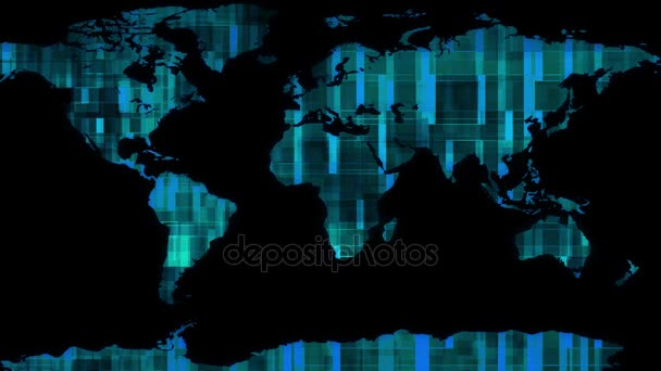 Holographic Display Earth Map With Data Block Moving Background New Quality Universal Motion Dynamic Animated Colorful