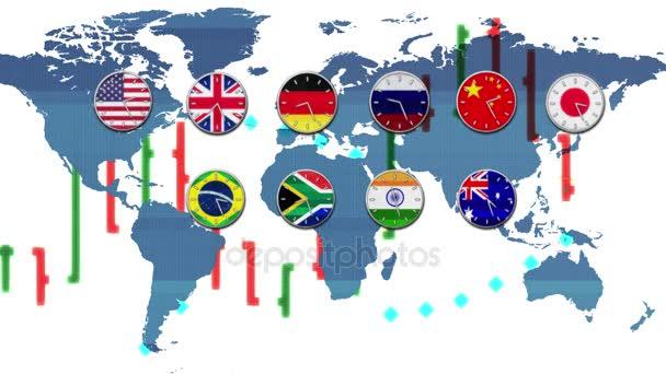 burzovní graf s světa forex burze hodiny děje v reálném čase pásma Hud země mapě pozadí - nové kvalitní finanční podnikání animovaný dynamického pohybu videozáznam