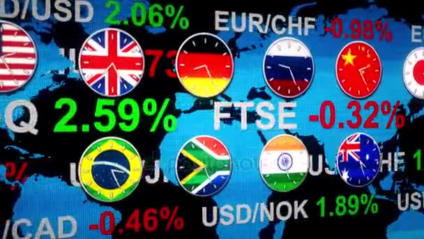 Ticker board world forex stock market news with clocks going in real ticker board world forex stock market news with clocks going in real time zones hud earth map on background in 3d new quality financial business animated gumiabroncs Image collections