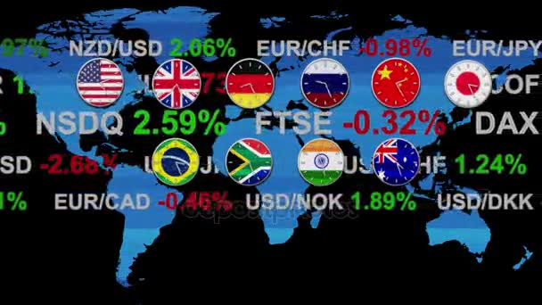 Ticker board world forex stock market news with clocks going in real ticker board world forex stock market news with clocks going in real time zones hud earth map gumiabroncs Images