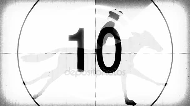 retro vintage white countdown with cartoon horseman cowboy upon running horse seamless endless loop new quality unique handmade animation dynamic joyful video footage
