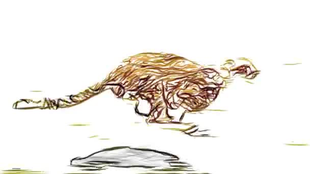 cheetah running pencil draw cartoon animation seamless endless loop new quality unique handmade dynamic joyful colorful video animal cat footage