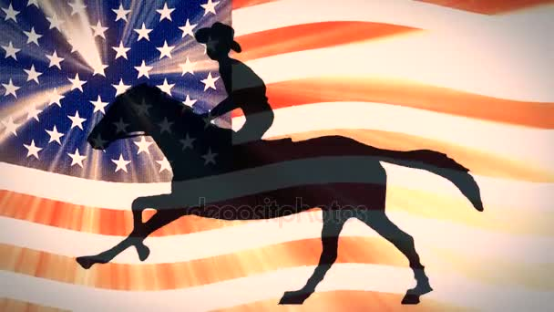 retro style usa flag waving in sunset light with cartoon horseman cowboy upon running horse new quality unique handmade animation dynamic joyful video seamless endless loop footage