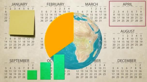 Výroční finanční zpráva o prodeji grafu zvýšit země světa rotace na kalendář nové kvalitní lehký pohyb pozadí dynamické animace barevné veselé video záznam smyčky