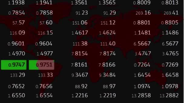 Devisenmarkt-Tickerboard News Line und holographische rote Erdkarte auf weißem Hintergrund - neue Qualität des Finanzgeschäfts animierte dynamische Bewegungs-Videomaterial