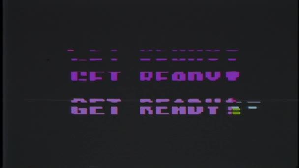 retro videojáték kap kész szöveg régi tv fénylik interferencia képernyőn... Új minőségű univerzális évjárat-motion dinamikus animációs háttér színes örömteli cool videó felvétel