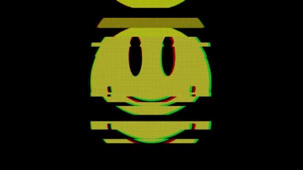 Úsměv symbol na digitální staré televizní obrazovky bezešvé smyčka závada rušení animace nové dynamické retro radostné barevné retro vintage videozáznam