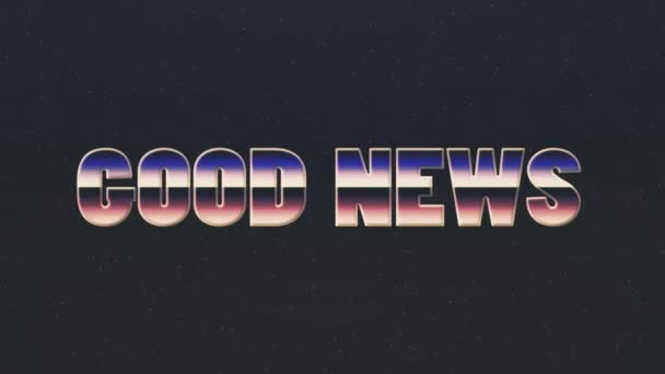 Shiny retro 80s style lazer good news text fly in and out on stars  animation background -new unique vintage beautiful dynamic joyful colorful  video footage